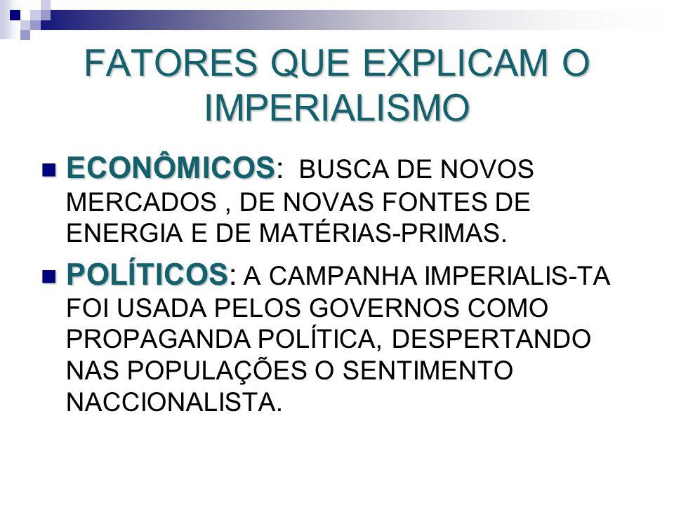 FATORES QUE EXPLICAM O IMPERIALISMO