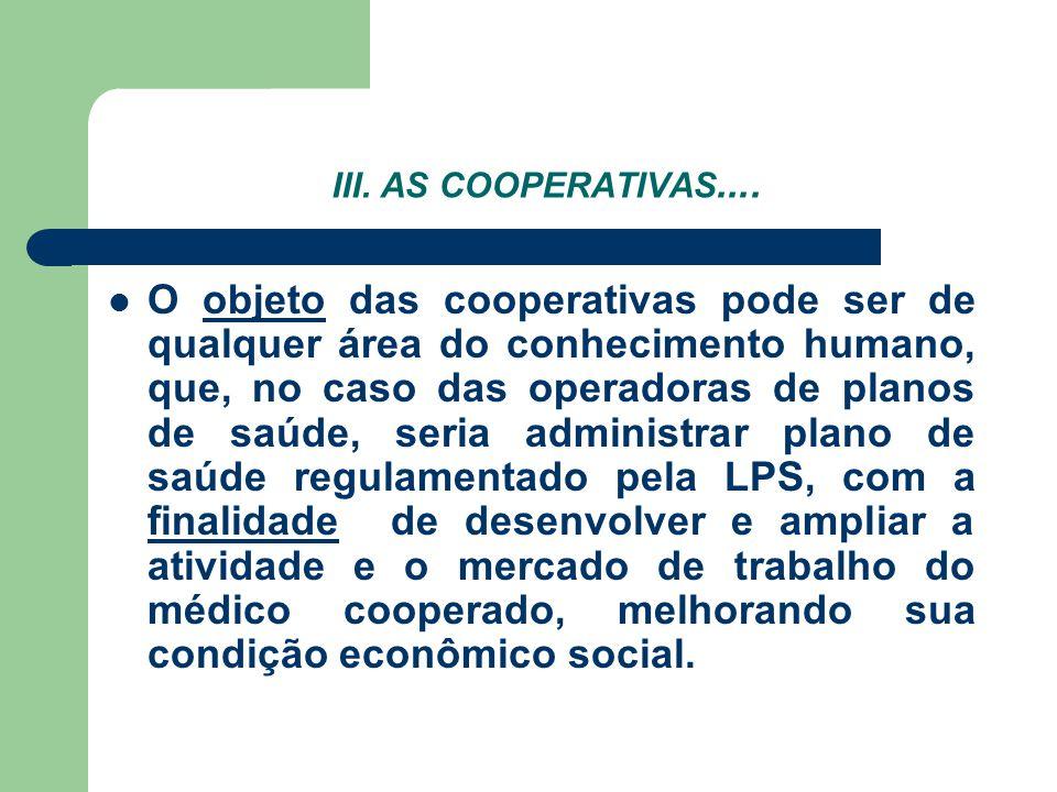 III. AS COOPERATIVAS....