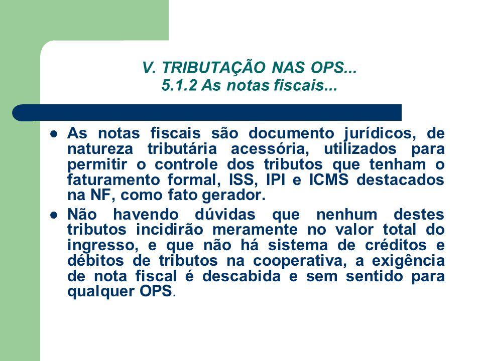 V. TRIBUTAÇÃO NAS OPS... 5.1.2 As notas fiscais...