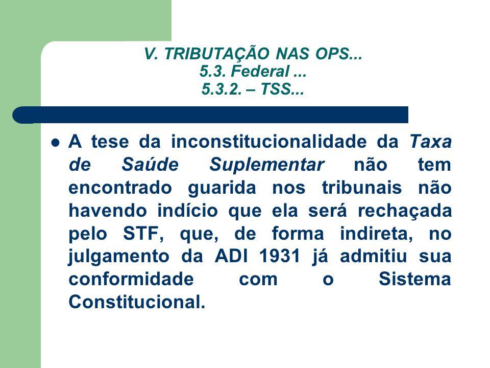 V. TRIBUTAÇÃO NAS OPS... 5.3. Federal ... 5.3.2. – TSS...