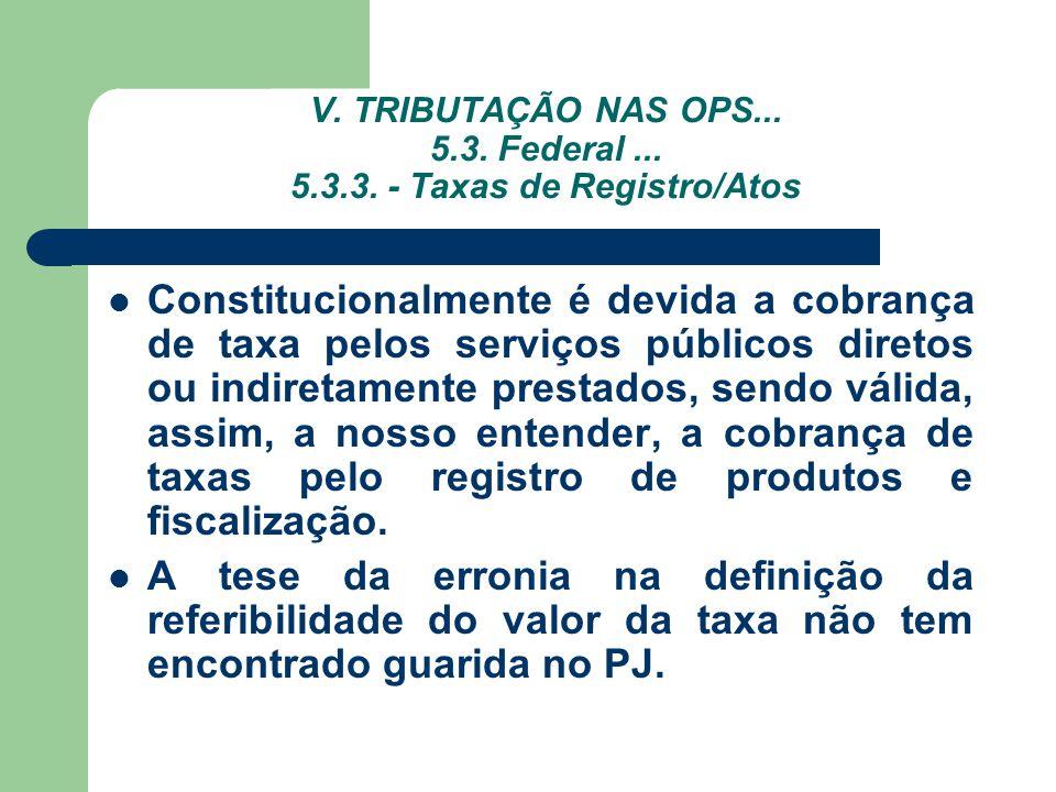 V. TRIBUTAÇÃO NAS OPS... 5.3. Federal ... 5.3.3. - Taxas de Registro/Atos