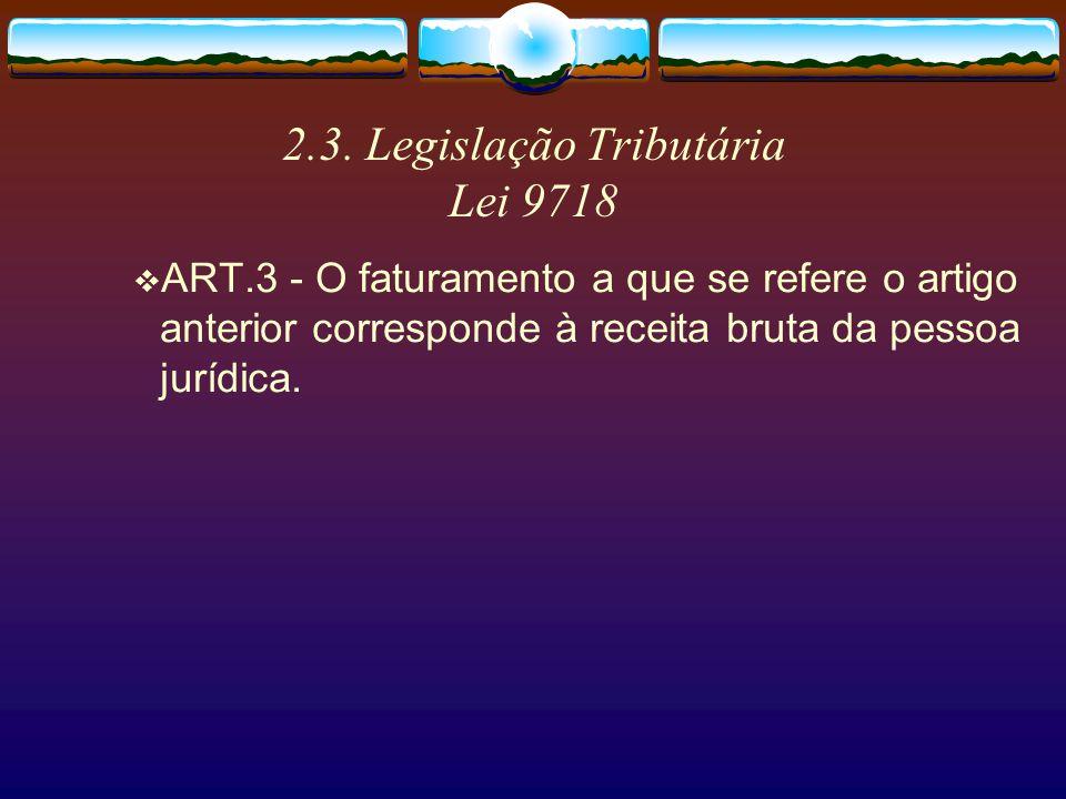 2.3. Legislação Tributária Lei 9718