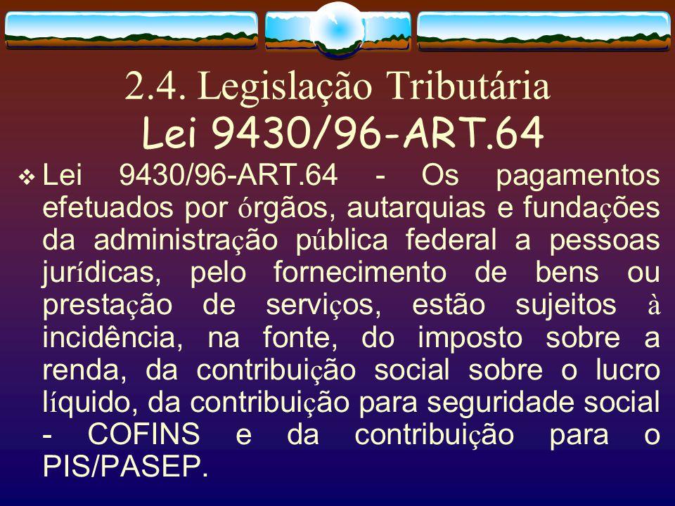 2.4. Legislação Tributária Lei 9430/96-ART.64