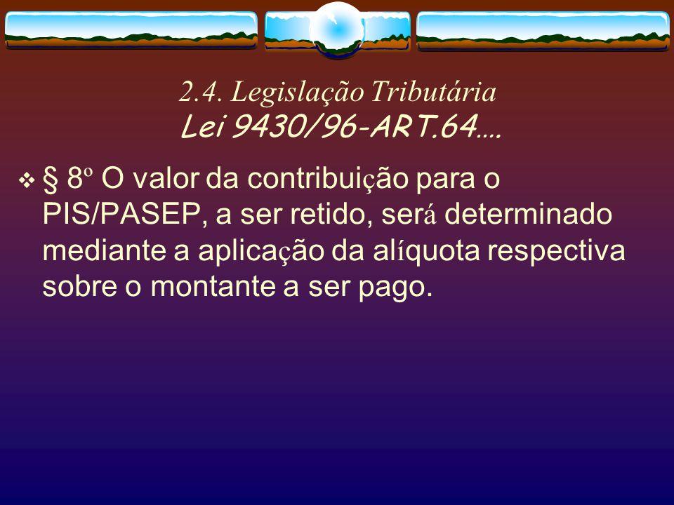 2.4. Legislação Tributária Lei 9430/96-ART.64….