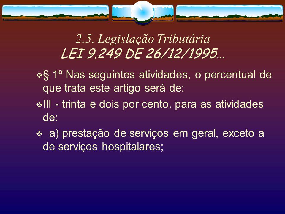 2.5. Legislação Tributária LEI 9.249 DE 26/12/1995…