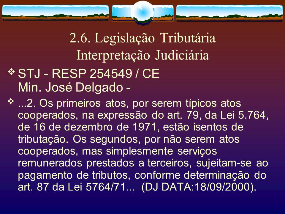 2.6. Legislação Tributária Interpretação Judiciária