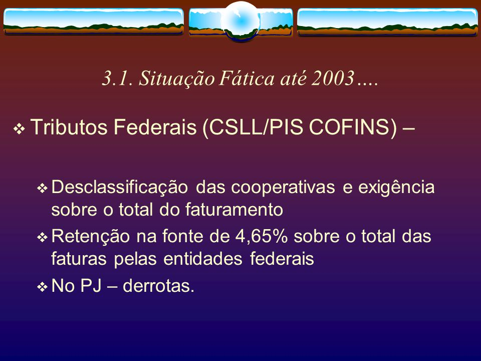 Tributos Federais (CSLL/PIS COFINS) –