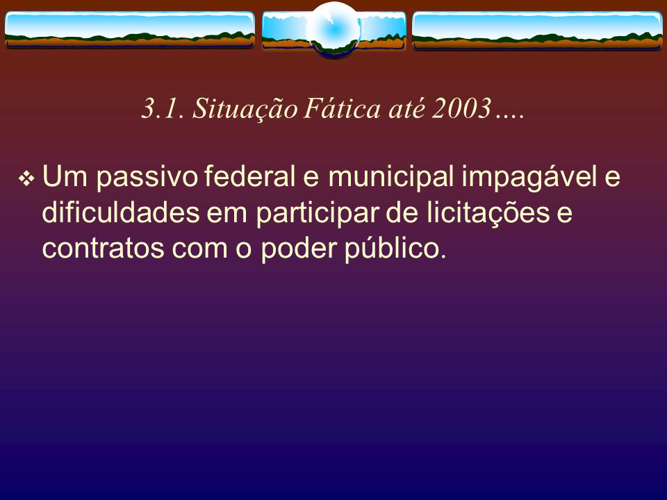 3.1. Situação Fática até 2003….