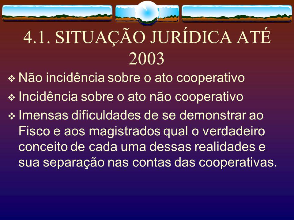 4.1. SITUAÇÃO JURÍDICA ATÉ 2003 Não incidência sobre o ato cooperativo