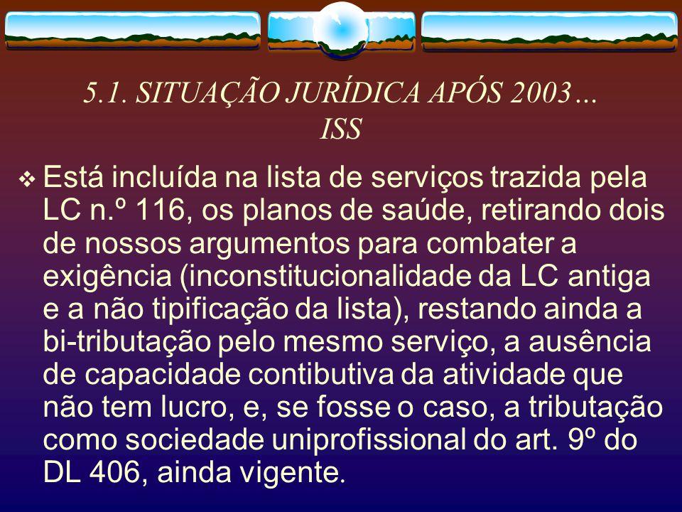 5.1. SITUAÇÃO JURÍDICA APÓS 2003… ISS