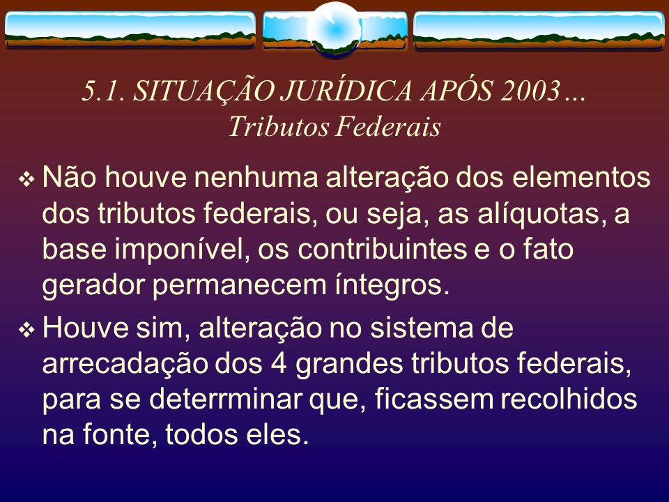 5.1. SITUAÇÃO JURÍDICA APÓS 2003… Tributos Federais