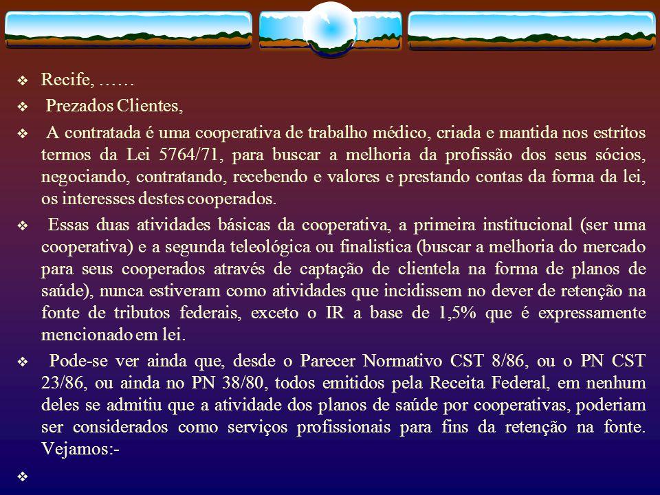 Recife, …… Prezados Clientes,