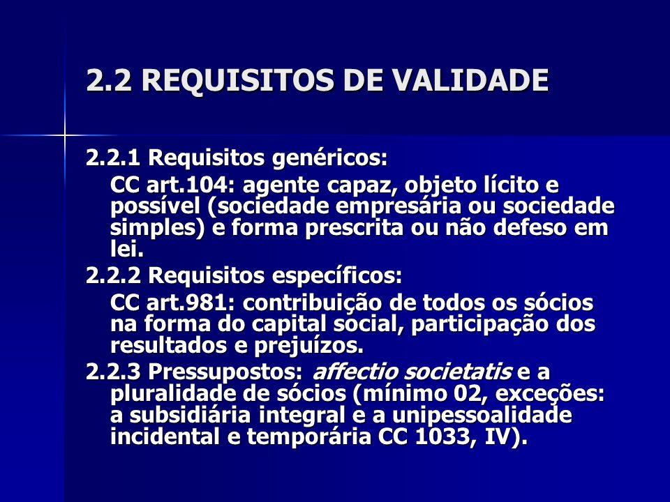 2.2 REQUISITOS DE VALIDADE
