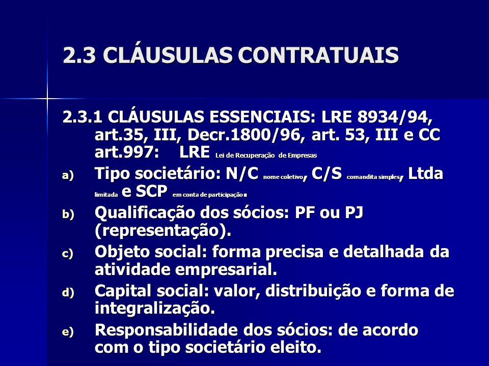 2.3 CLÁUSULAS CONTRATUAIS
