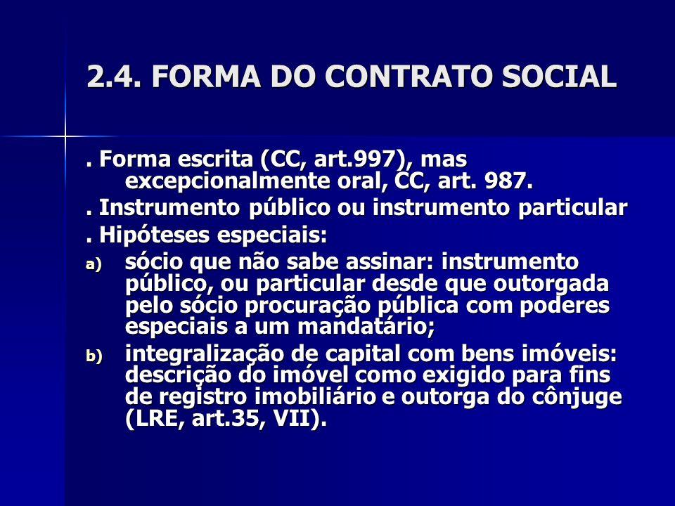 2.4. FORMA DO CONTRATO SOCIAL