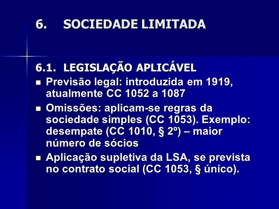 6. SOCIEDADE LIMITADA 6.1. LEGISLAÇÃO APLICÁVEL