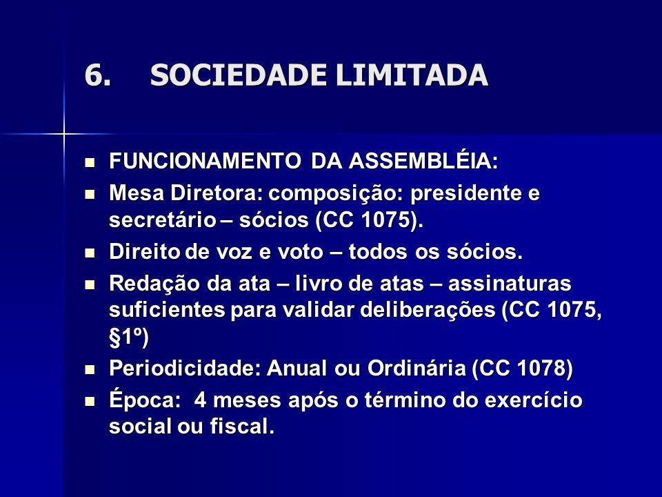 6. SOCIEDADE LIMITADA FUNCIONAMENTO DA ASSEMBLÉIA:
