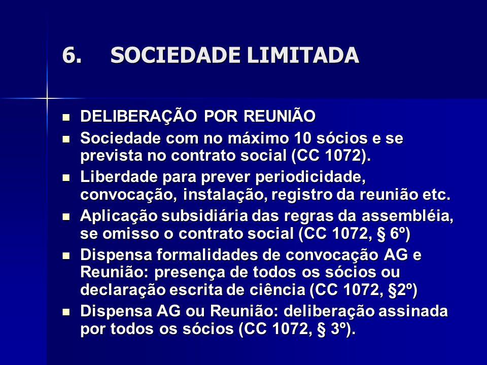 6. SOCIEDADE LIMITADA DELIBERAÇÃO POR REUNIÃO