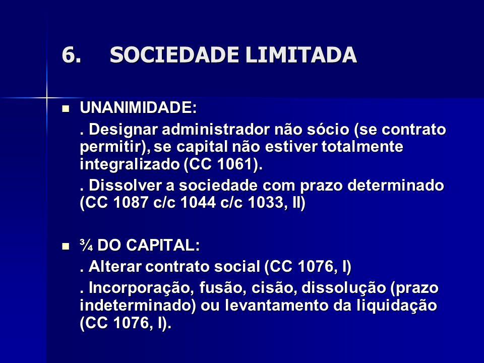 6. SOCIEDADE LIMITADA UNANIMIDADE: