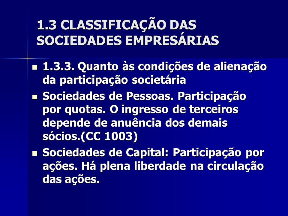 1.3 CLASSIFICAÇÃO DAS SOCIEDADES EMPRESÁRIAS