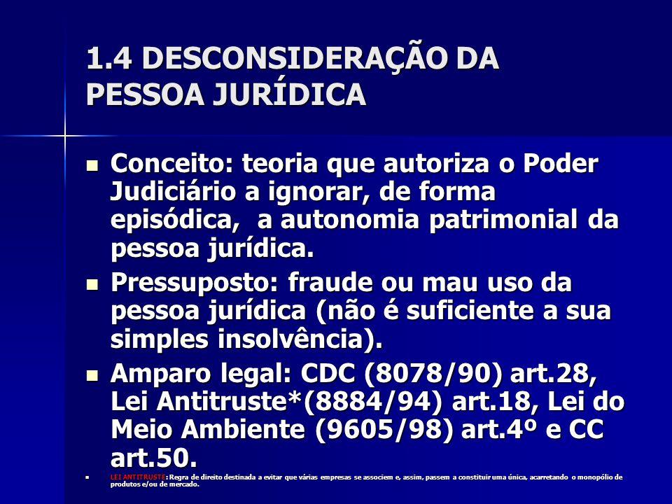 1.4 DESCONSIDERAÇÃO DA PESSOA JURÍDICA