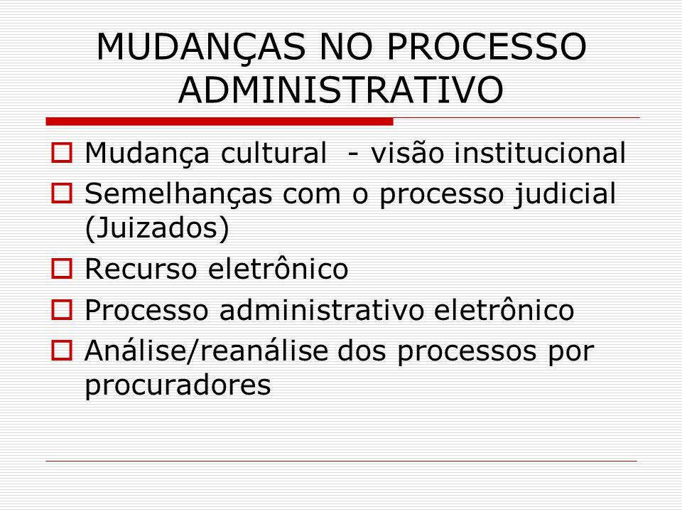 MUDANÇAS NO PROCESSO ADMINISTRATIVO