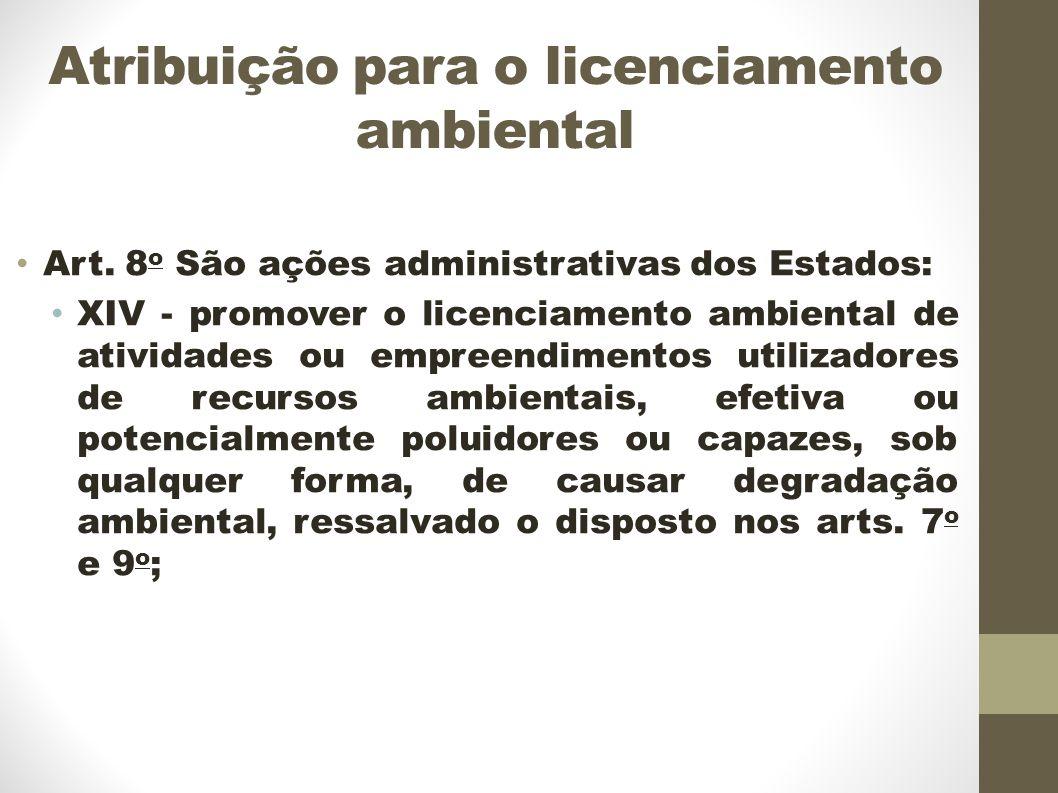 Atribuição para o licenciamento ambiental