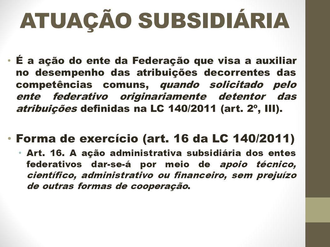 ATUAÇÃO SUBSIDIÁRIA Forma de exercício (art. 16 da LC 140/2011)