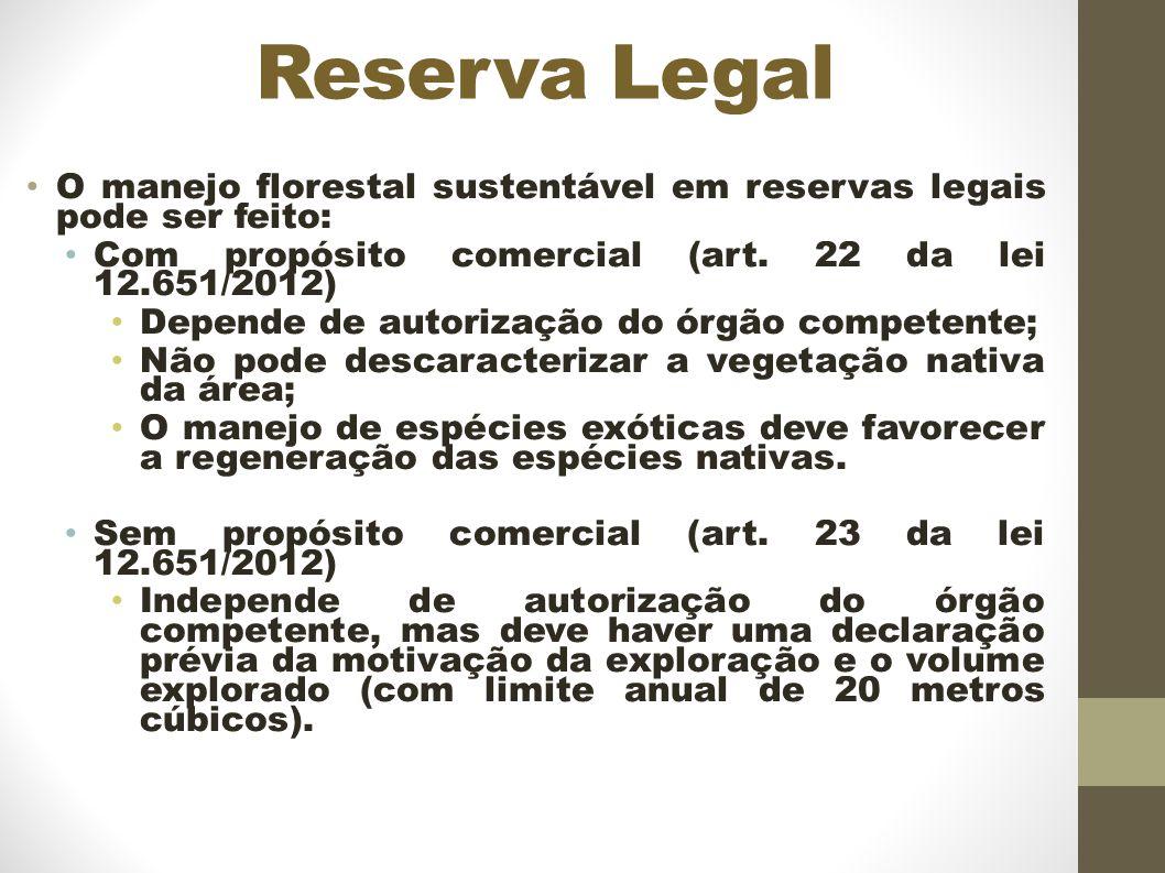 Reserva Legal O manejo florestal sustentável em reservas legais pode ser feito: Com propósito comercial (art. 22 da lei 12.651/2012)