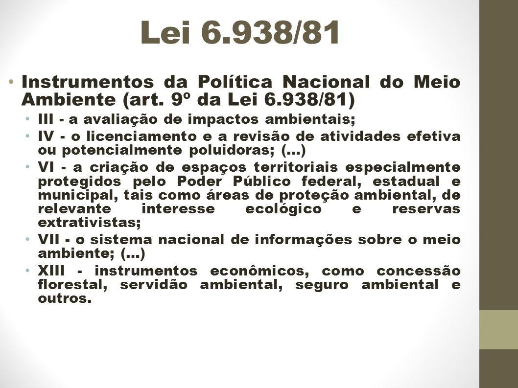 Lei 6.938/81 Instrumentos da Política Nacional do Meio Ambiente (art. 9º da Lei 6.938/81) III - a avaliação de impactos ambientais;