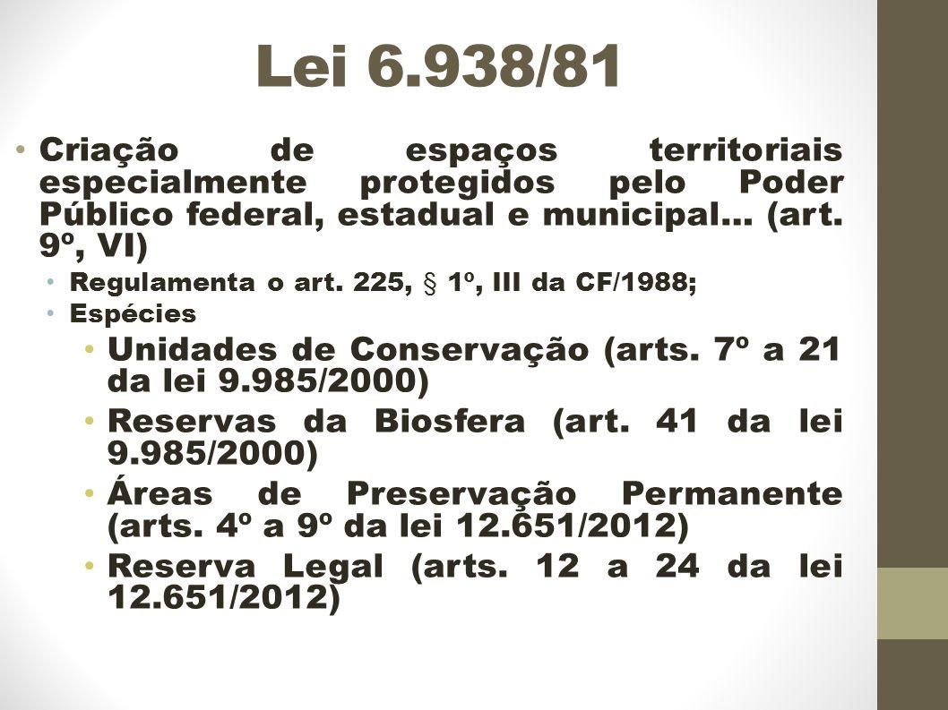 Lei 6.938/81 Criação de espaços territoriais especialmente protegidos pelo Poder Público federal, estadual e municipal… (art. 9º, VI)