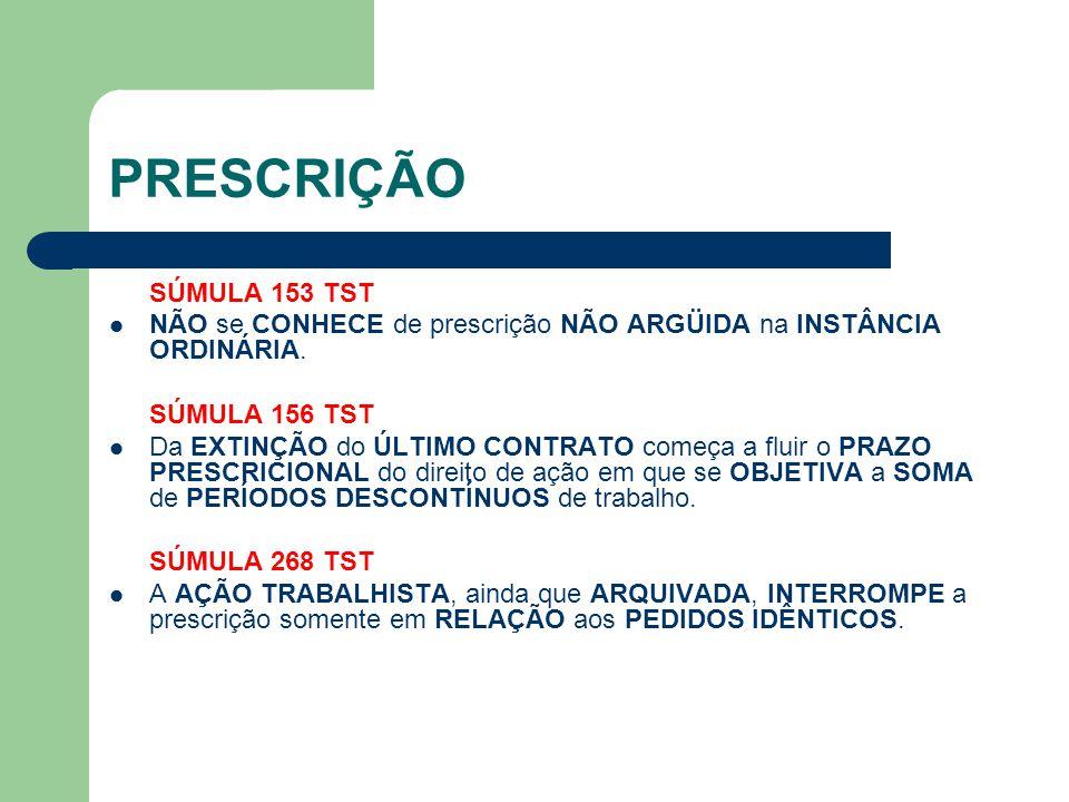 PRESCRIÇÃO SÚMULA 153 TST. NÃO se CONHECE de prescrição NÃO ARGÜIDA na INSTÂNCIA ORDINÁRIA. SÚMULA 156 TST.