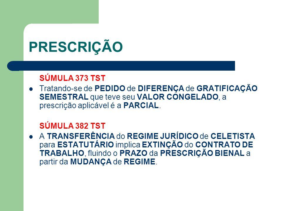 PRESCRIÇÃO SÚMULA 373 TST.