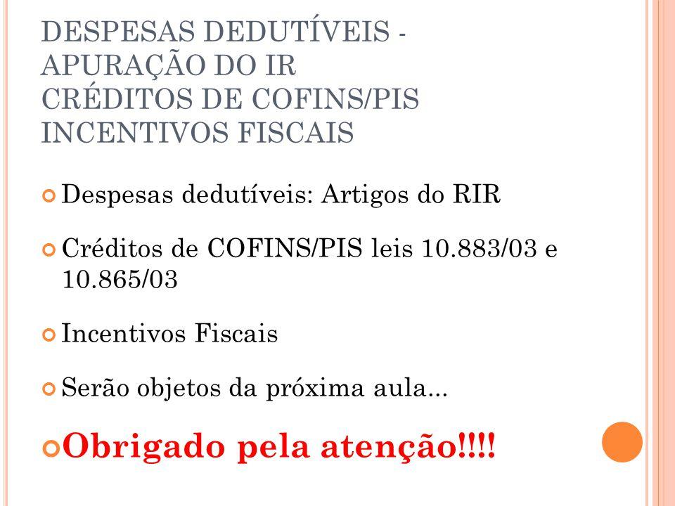 DESPESAS DEDUTÍVEIS - APURAÇÃO DO IR CRÉDITOS DE COFINS/PIS INCENTIVOS FISCAIS