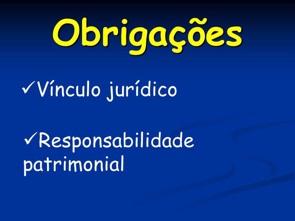 Obrigações Vínculo jurídico Responsabilidade patrimonial