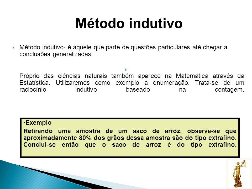 Método indutivo Método indutivo- é aquele que parte de questões particulares até chegar a conclusões generalizadas.