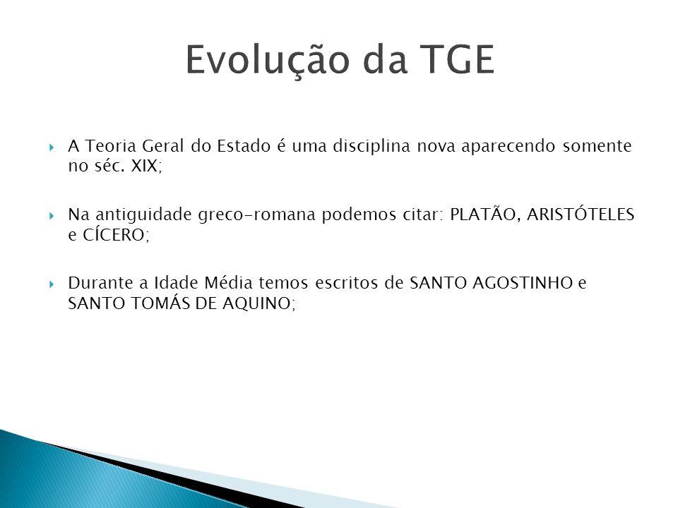 Evolução da TGE A Teoria Geral do Estado é uma disciplina nova aparecendo somente no séc. XIX;