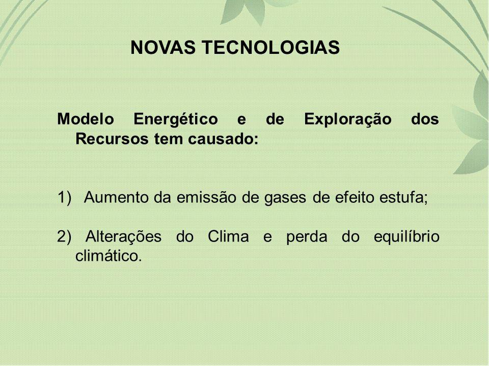 NOVAS TECNOLOGIAS Modelo Energético e de Exploração dos Recursos tem causado: 1) Aumento da emissão de gases de efeito estufa;