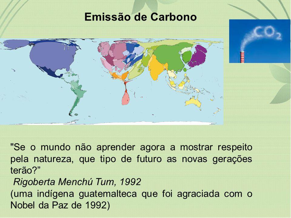 Emissão de Carbono Se o mundo não aprender agora a mostrar respeito pela natureza, que tipo de futuro as novas gerações terão