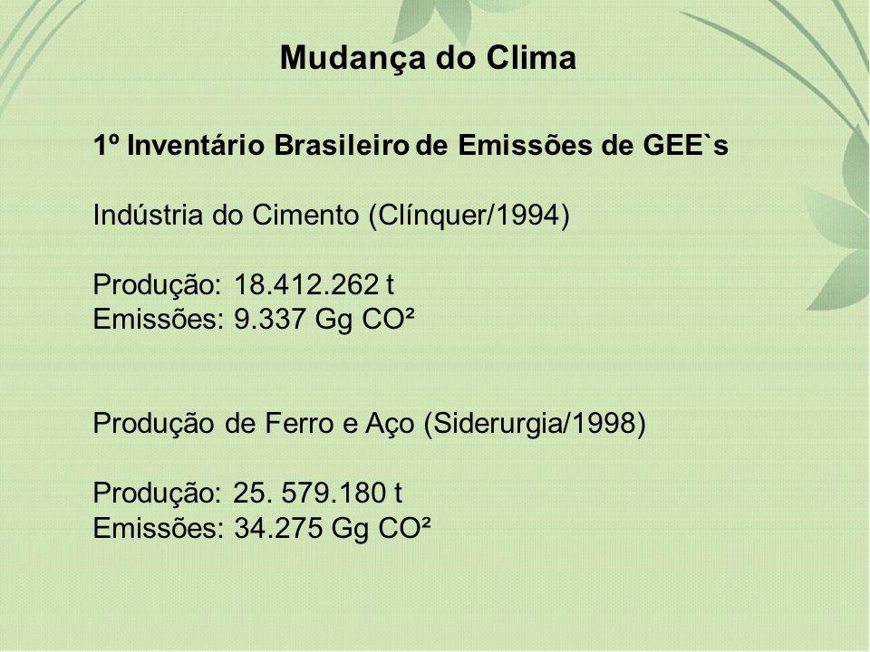 Mudança do Clima 1º Inventário Brasileiro de Emissões de GEE`s