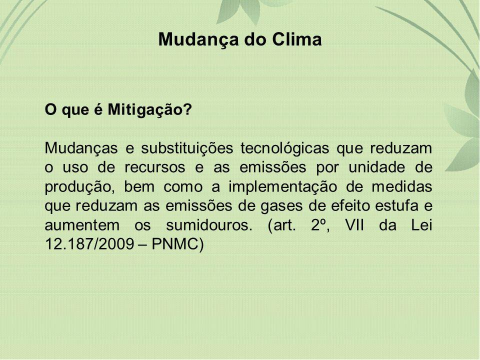 Mudança do Clima O que é Mitigação
