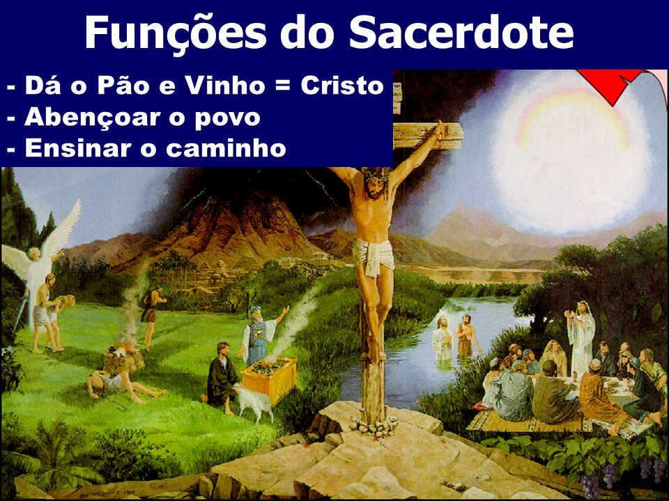 Funções do Sacerdote - Dá o Pão e Vinho = Cristo - Abençoar o povo