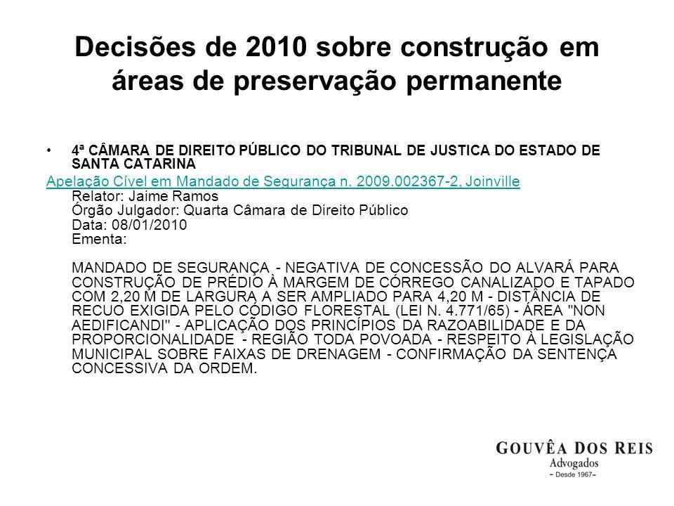 Decisões de 2010 sobre construção em áreas de preservação permanente