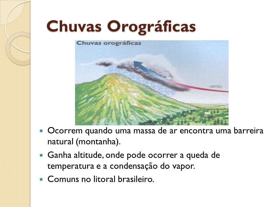 Chuvas Orográficas Ocorrem quando uma massa de ar encontra uma barreira natural (montanha).