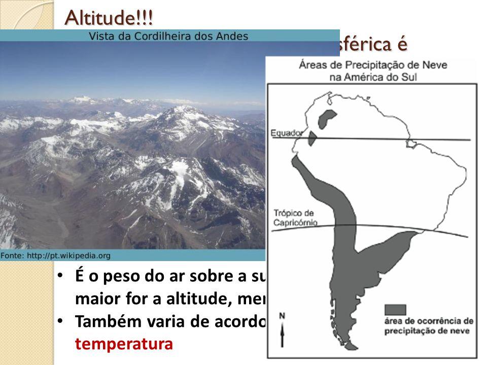 Altitude!!! Em qual cidade a pressão atmosférica é maior