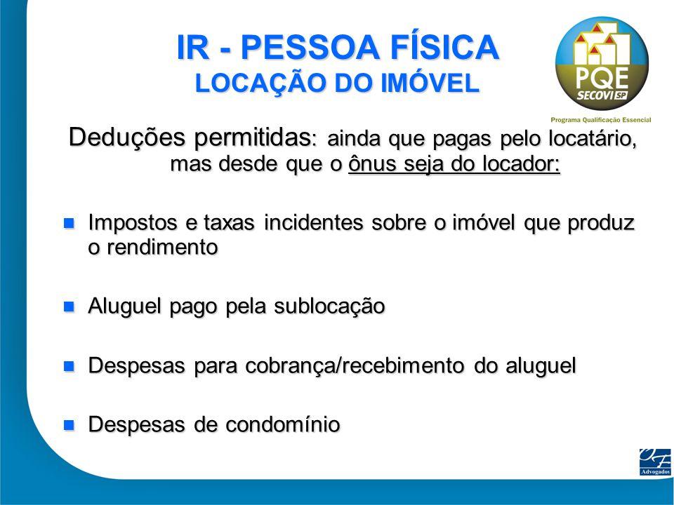 IR - PESSOA FÍSICA LOCAÇÃO DO IMÓVEL