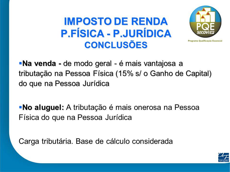 IMPOSTO DE RENDA P.FÍSICA - P.JURÍDICA CONCLUSÕES