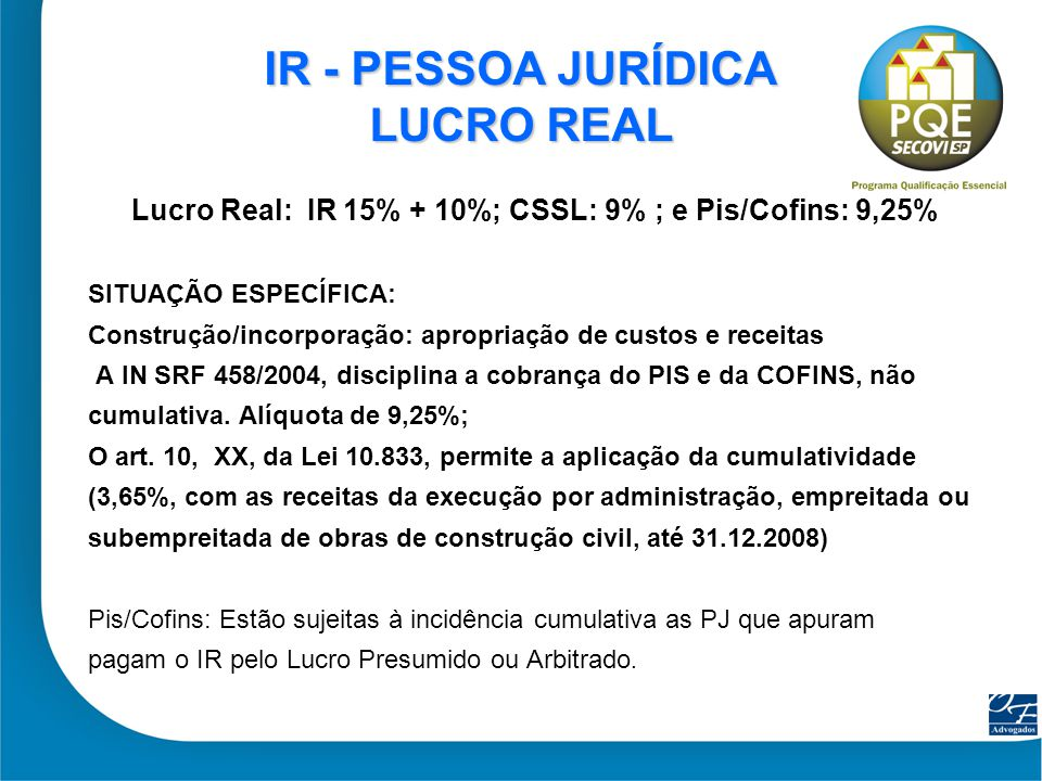 IR - PESSOA JURÍDICA LUCRO REAL