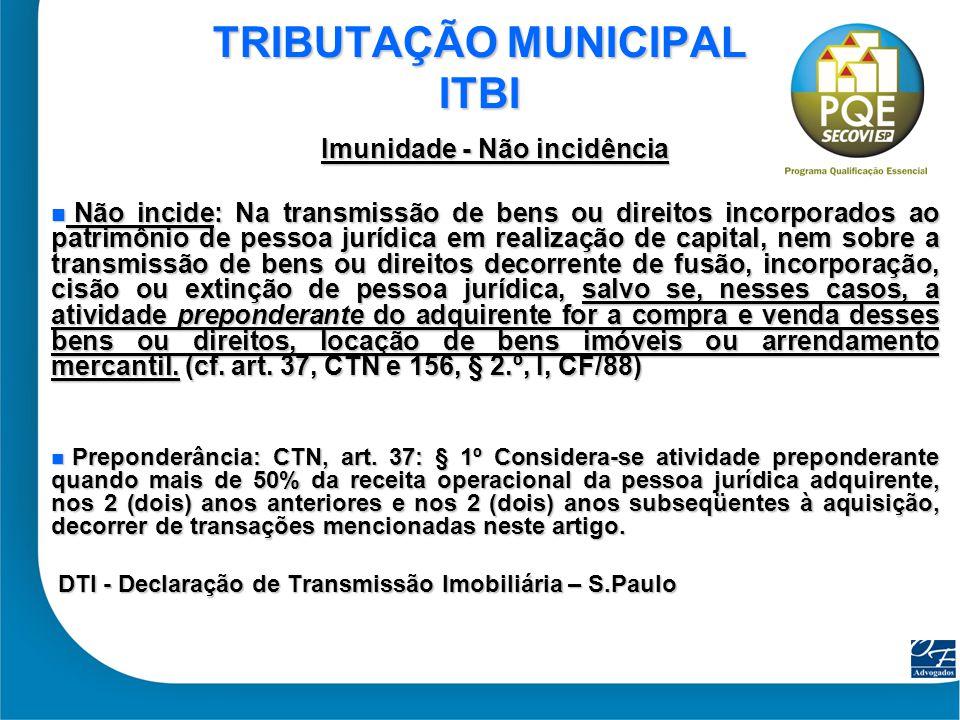 TRIBUTAÇÃO MUNICIPAL ITBI