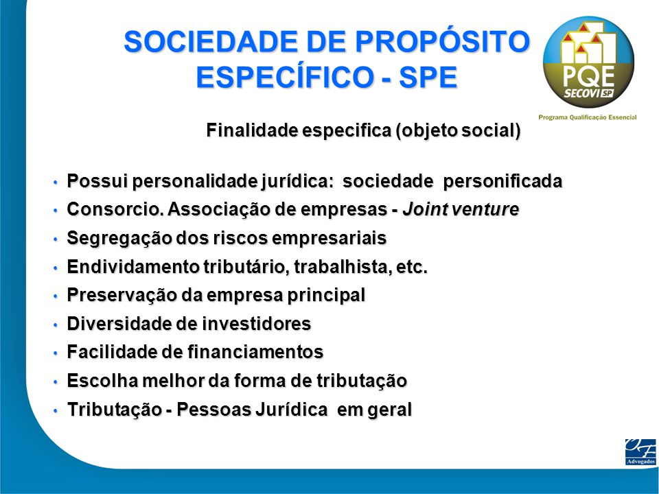 SOCIEDADE DE PROPÓSITO ESPECÍFICO - SPE